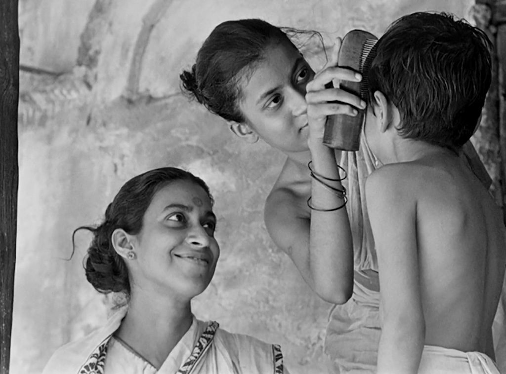 A scene from Pather Panchali, Sarbajaya, Durga and Apu