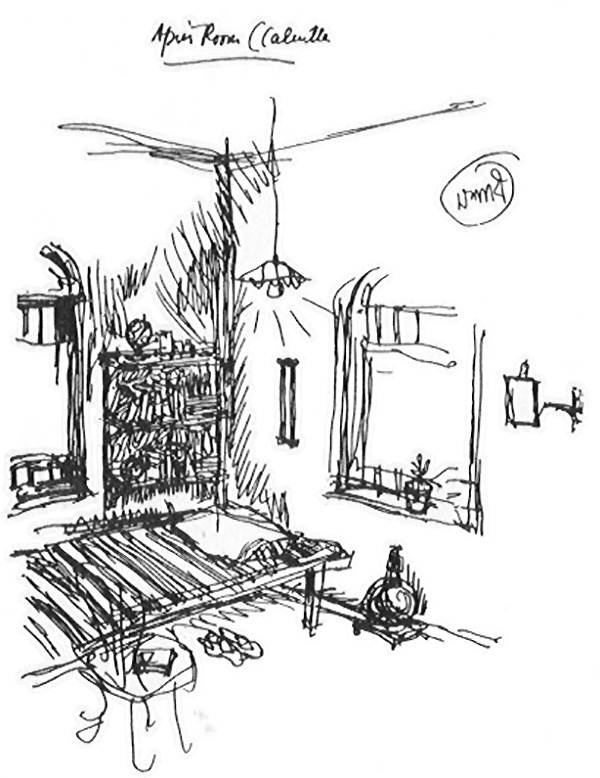 Apu's room in Calcutta, a sketch by Ray ©Ray Family