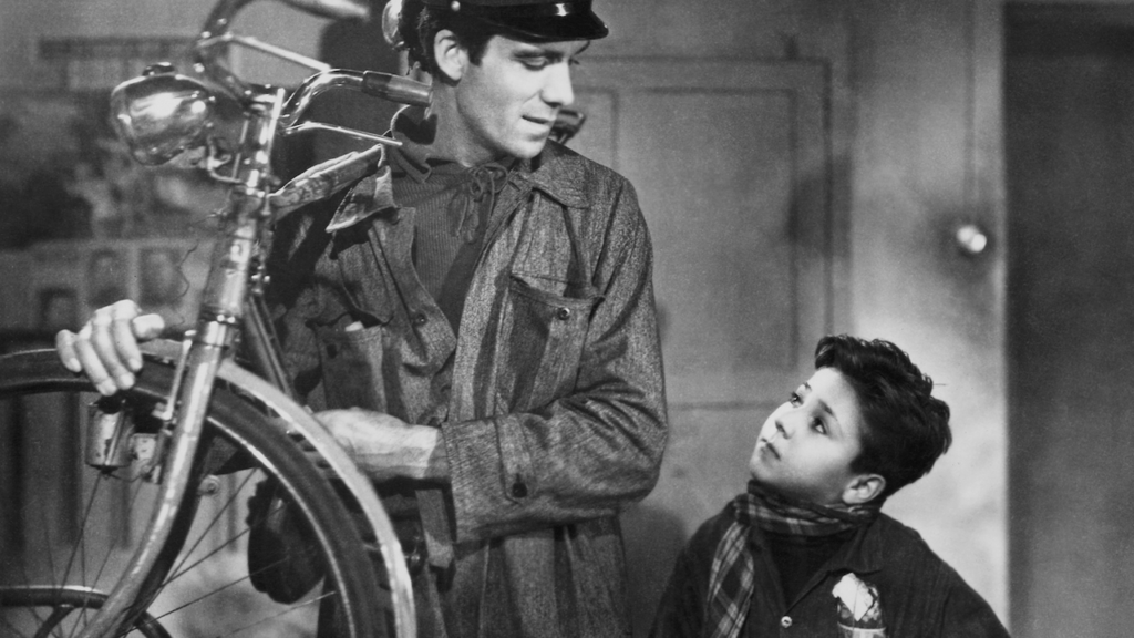 A still from Vittorio De Sica's Bicycle Thieves
