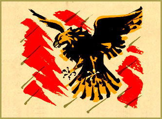 Ray illustrated a primer in Bengali. The flying eagle is done in bold brush strokes. 1943
