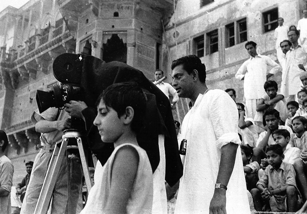 Satyajit Ray and Pinaki Sengupta on location in Benaras