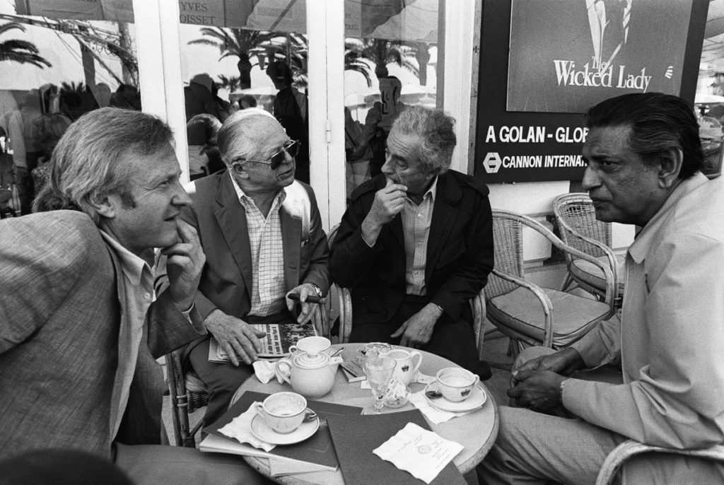 John Boorman, Billy Wilder, Michelangelo Antonioni and Satyajit Ray at the Cannes Film Festival, 1982