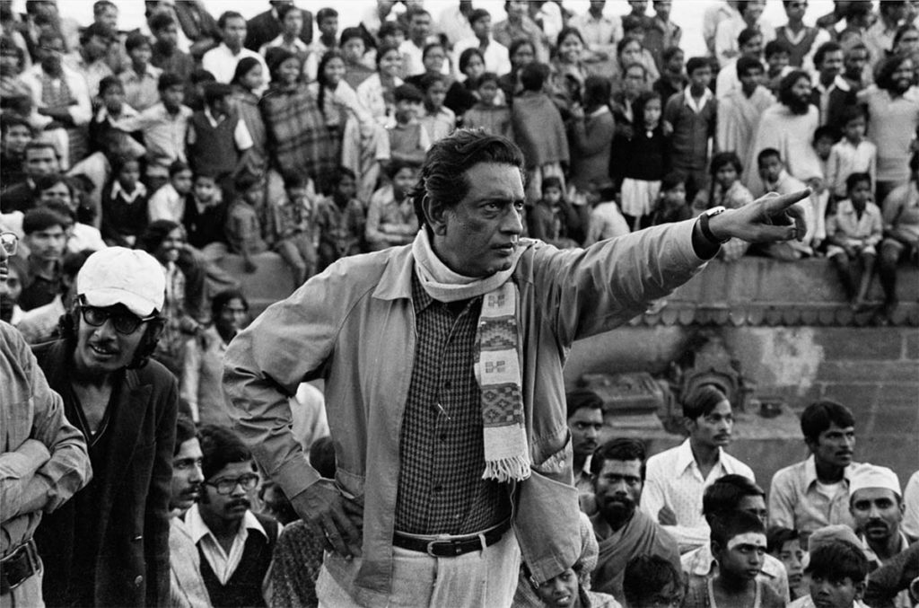 Satyajit Ray directing at location in Benares ©Nemai Ghosh