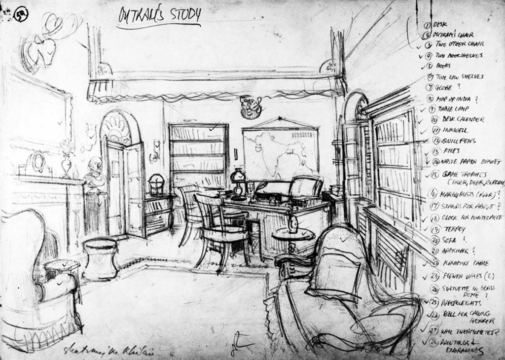 An sketch of Outram`s Study by Satyajit Ray ©Ray Family
