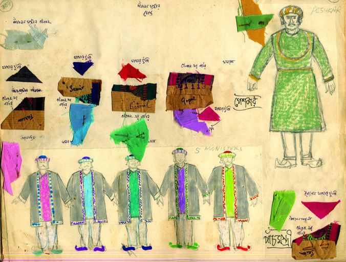 Ray's sketches for the costumes for the film ©Ray Family