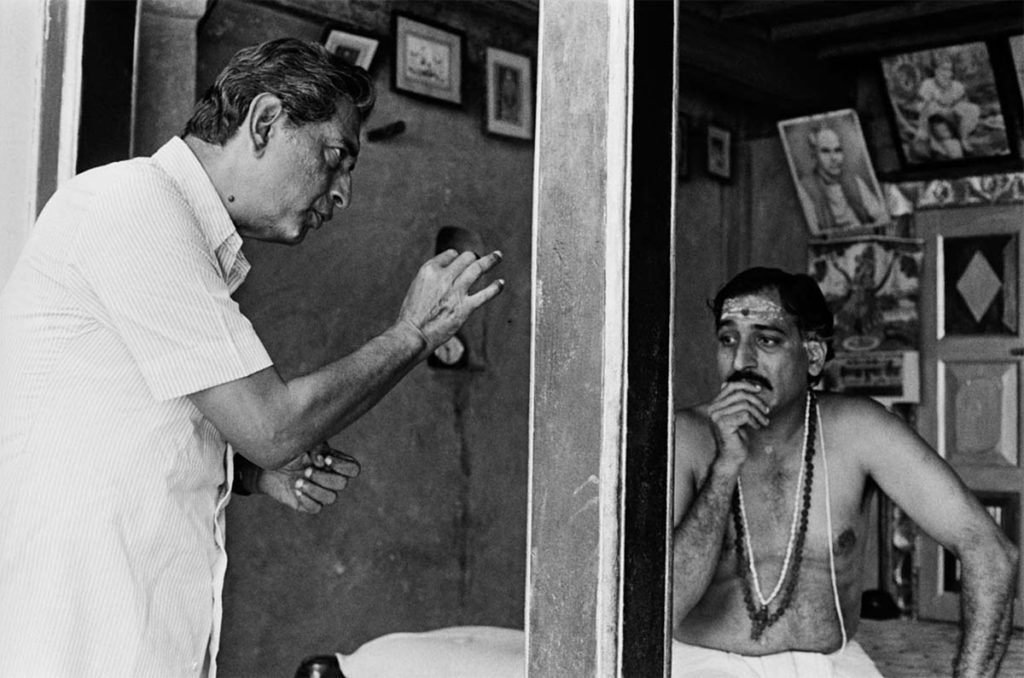 Ray directing Mohan Agashe (Ghashiram, the Brahmin) ©Nemai Ghosh