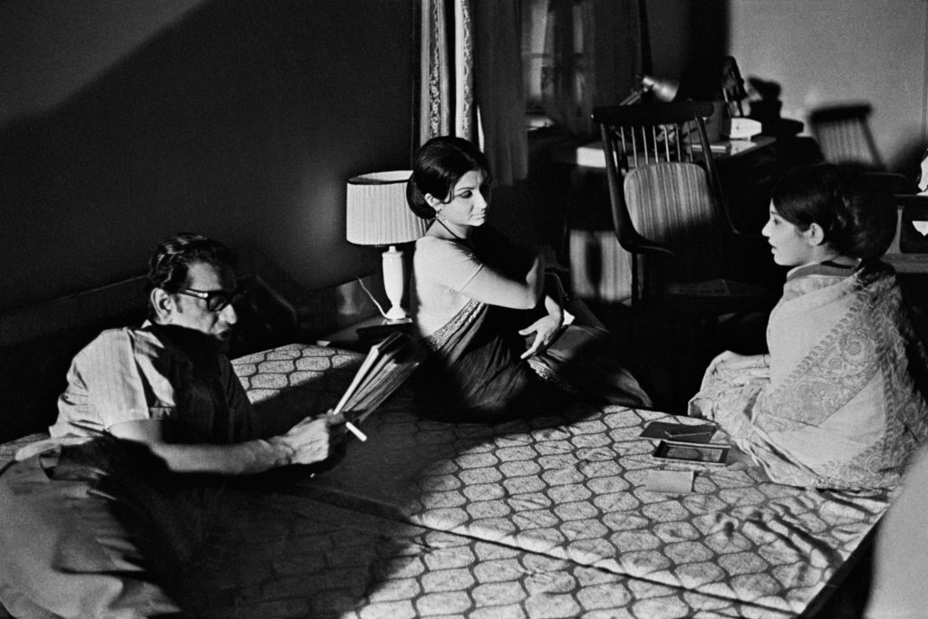 Satyajit Ray directing Sharmila Tagore (Tutul) and Parumita Chowdhury (Dolan, Shyamal's wife). ©Nemai Ghosh