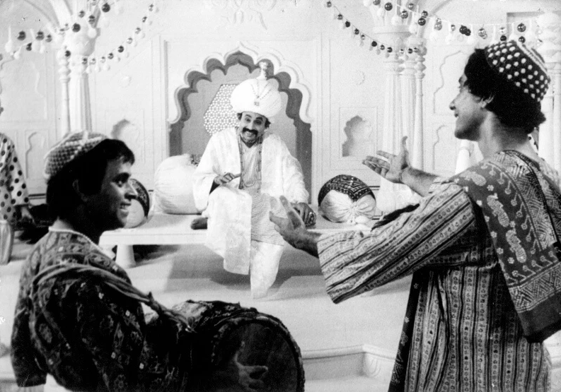 Goopy and Bagha with the King of Shundi ©Nemai Ghosh