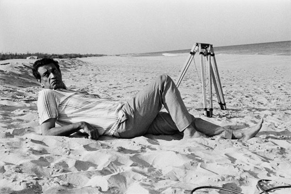 Satyajit Ray on location at the shore temple beach on the outskirts of Madras during the filming of Bala