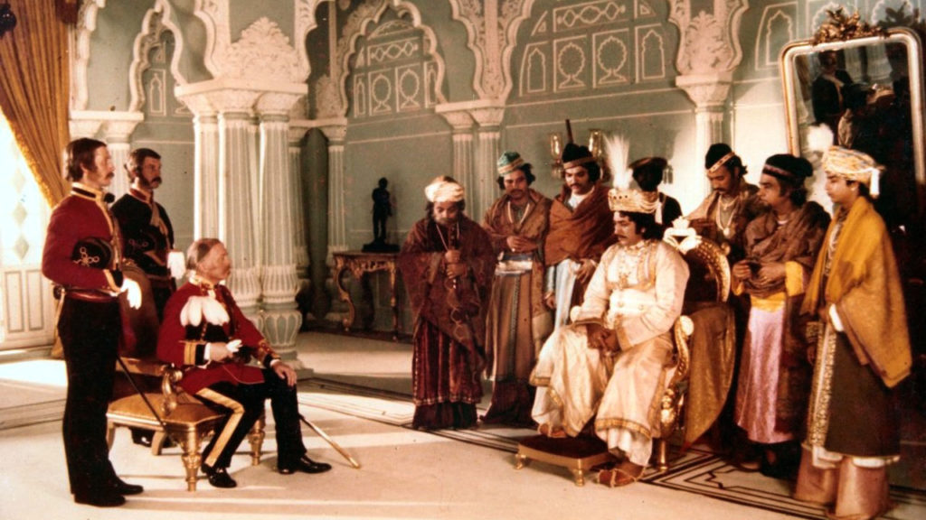 Nawab Wajid Ali Shah (Amjad Khan) meets General Outram (Sir Richard Attenborough). Image credit: Devki Chitra Productions (Suresh Jindal)